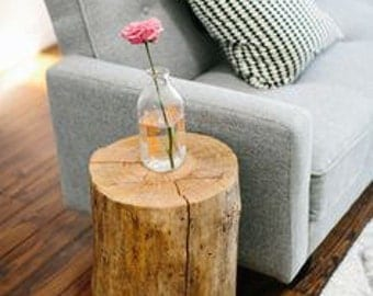 Slab wood rustic bed side table