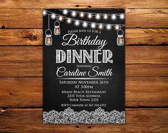 Birthday Dinner Invitation. Birthday Dinner. Birthday Invitation. Chalkboard. Printable Birthday Invitation. Any age.