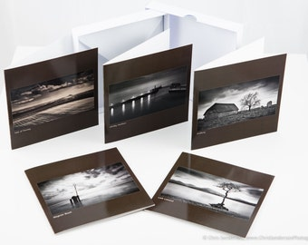 Landscapes Greetings Cards (Black and White).  Pack of 5 individual designs, in a protective box, with envelopes.
