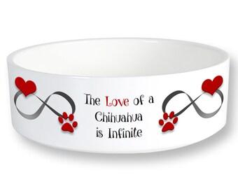 Chihuahua Infinite Love Dog Bowl 6 inch Diameter Printed Both Sides