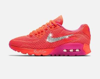 Womens Nike Air Max 90 Ultra Crimson Pink Custom Bling Crystal Swarovski Sneakers, Running Shoes, Tennis Shoes, Nikes