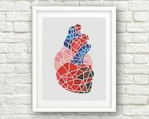 BUY 2 get 1 FREE!Geometric Heart Cross Stitch Pattern,  Human Anatomy Modern ,Human Heart Cross Stitch, PDF Instant Download, S053