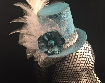 SALE Miniature Top Hat Fascinator Weddings Cosplay Fantasy Victorian Handpainted Wearable Art Fashion Millinery Baby Blue White Silver