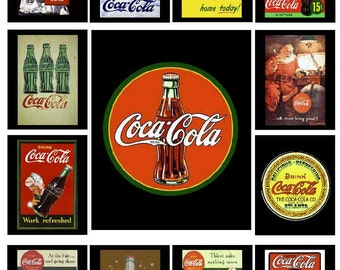 Coca Cola vintage ads, 13 PHOTO FRIDGE MAGNETS - Glossy