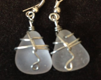 Authentic Sea Glass Dangling Earrings Wrapped in Silver 2""