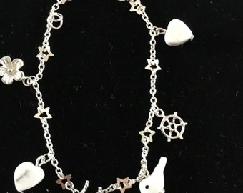 Dove Bracelet, Heart Charms and Roses Charm, charm bracelet, silver bracelet, dove bracelet, heart bracelet,