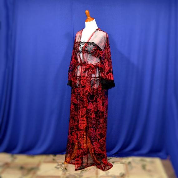 Sweetheart kimono red sheer cardigan valentine date robes