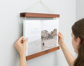 book frame dark wood reclaimed wood wall art wall hanging recipe