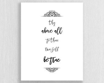Wall Art Print - Shakespeare Quote - Instant Download - Typography art print, quote print, digital download, black and white print