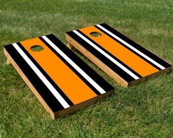 Classic Stripe - Black, White, Orange Cornhole Board Set
