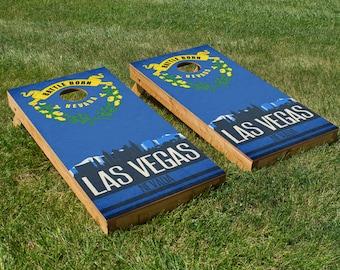 Las Vegas State Flag Skyline Cornhole Board Set