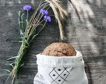 Natural Linen Bread Bag, Reusable Bread Keeper, Organic Food Storage, Eco friendly, Hand Embroidery