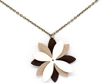 """Necklace leather flower """"lotus"""" beige, white and Brown"""