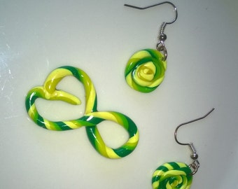 Colourful Swirl Necklace and earring set. One of a Kind item!