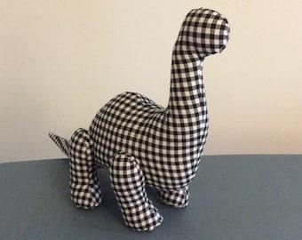 Designer Dinosaur - Brilliant Brontosaurus - Black Gingham