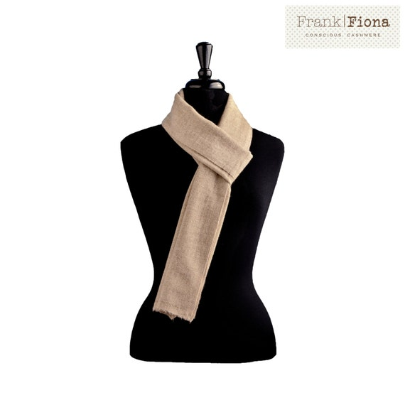 100% Pure Organic Cashmere Scarf,Christmas giftGrade A Mongolian Cashmere,12x80 inches,Light Brown,Lightweight Shawl,Eco Friendly,Knitted,6N