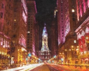 Philadelphia City Hall Painting Poster Print