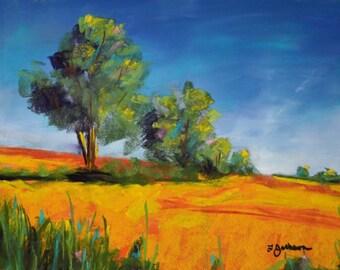 Golden Field, Springtime Trees, Cheerful Wall Art 9inx12in Original Soft Pastel Unique Gift Artwork Art Work