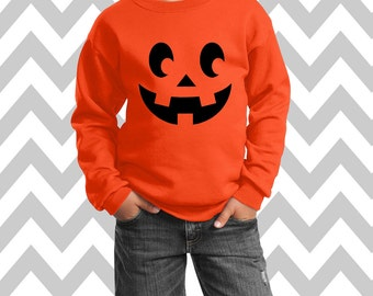 Pumpkin Face 2 Jack-O-Lantern Halloween Youth Unisex Sweatshirt Scary Pumpkin Face Halloween Shirt Pumpkin Face  Kids Halloween Costume