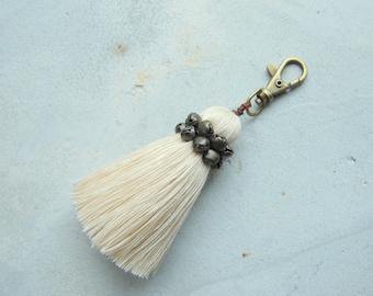 Off-White Single Tassel Keychain