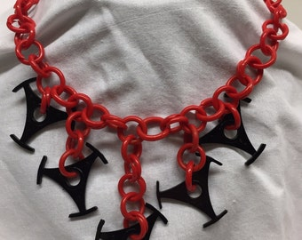 One of a kind vintage necklace 45 rpm record centers!