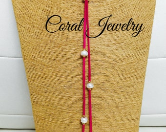 Fusha Choker with pearls and 18 K vermeil sepacer-Choker Fusha with beads and spacers plated in gold