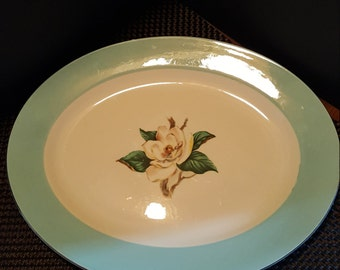 "LIFETIME China ""Semi-Vitreous Turquoise"" Serving Platter"
