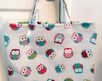 Large owl themed oilcloth tote bag