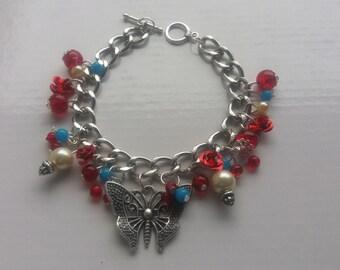 Charm bracelet, butterfly charm bracelet, red and blue bracelet, gifts for her, chain bracelet