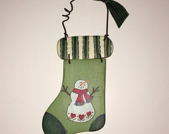 Green Stocking Wooden Christmas Ornament