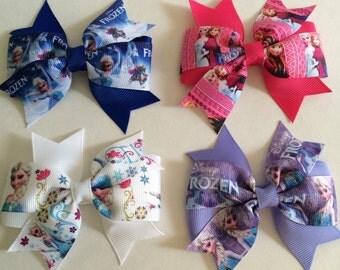 Frozen Hair Bows - Disney Themed - Set of 4 - Toddler Girl Clips