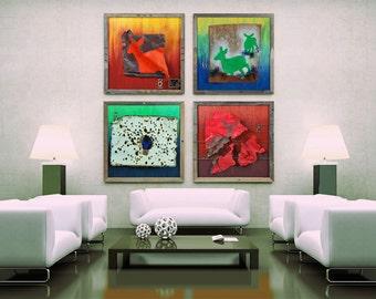 Mixed Media Recycled Deer Art – Polarity Collection: 4 Pieces of Original Art