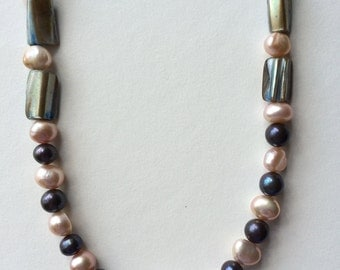 """24"""" Freshwater pearl, black / blue pearl and shell necklace"""