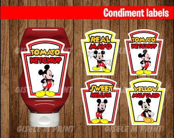 Mickey Mouse Condiments Label, Printable Mickey Mouse Condiments Label, Mickey party Condiments Label instant download