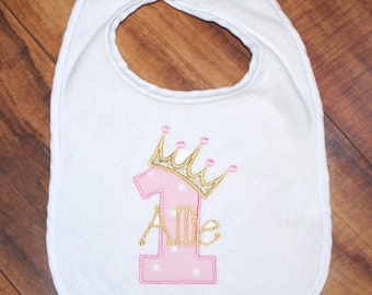 First Birthday bib personalized bib first birthday girl first birthday Name bib birthday bib Pink bib polka dot bib pink and gold bib