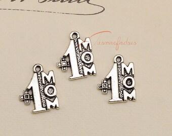 30PCS--23x20mm ,no.1 mom Charms, Antique Tibetan silver mom charm pendants , DIY supplies,Jewelry Making JAS1561DE