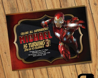 Iron Man Invitation - Iron Man Invite - Iron Man Birthday Invitation - Iron Man Birthday Party - Digital File Download
