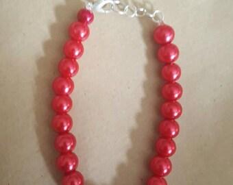 Red, Pearl Beaded Bracelet - Handmade