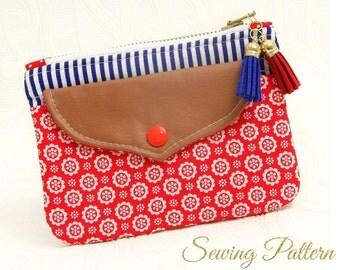 Clutch Pattern, Purse Pattern, Clutch Purse Pattern, Sewing Pattern PDF, Cosmetics Clutch Pattern, Wristlet Purse Pattern SHIELD (B901)