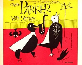 Charlie Parker with strings EP printers proof lithograph for record-Rare Jazz music memorabilia / collectible, Norman Granz/ Modern Art