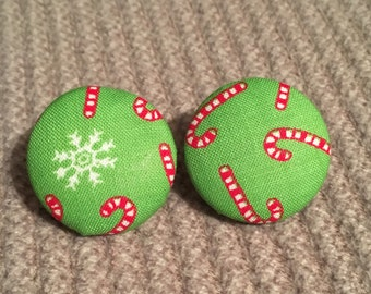 Holiday green and ref candy cane fabric earrings