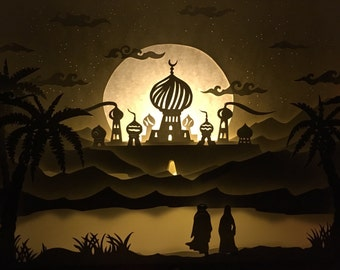 Shadow box, diorama, 3D painting, the thousand and one nights