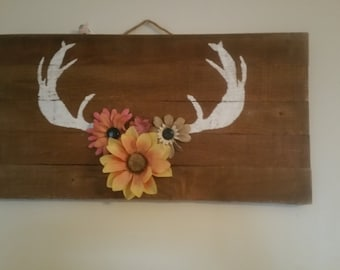 Hand painted deer antler decor