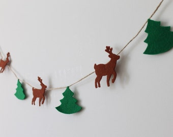 Felt Christmas Garland, Deers Garland, Pine Trees Garland, Christmas Wall Décor, Deer and Trees Banner, Scandinavian Christmas