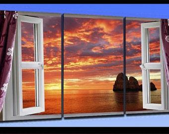 Wood framed canvas print cm 80x135 dramatic sunset 342 Window
