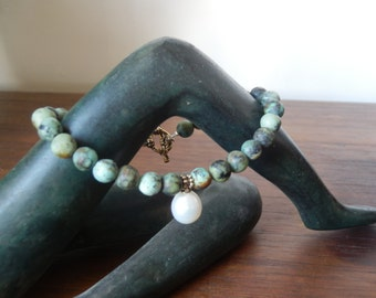 African Turquoise and Freshwater pearl bracelet