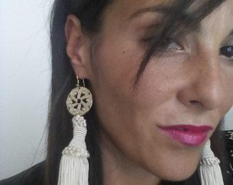 Earrings Ivory frange