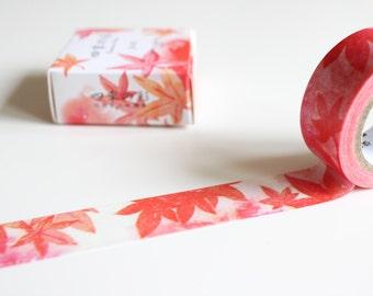Autumn Leaves Washi Tape, Maple Leaf Washi Tape, Orange Washi Tape (NT-104)