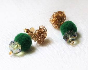 Gold field earrings with pom pom and faceted crystal.