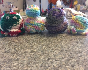 Crocheted turtles and octupi